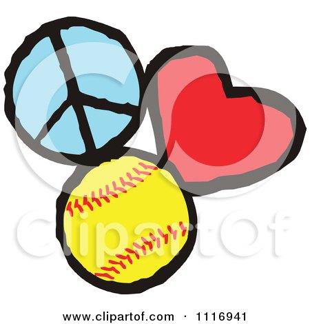 Cartoon Of Peace Love Softball Graphics - Royalty Free Vector Clipart by Johnny Sajem
