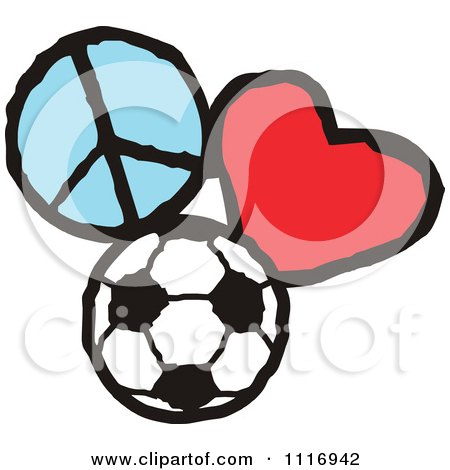 Cartoon Of Peace Love Soccer Graphics - Royalty Free Vector Clipart by Johnny Sajem