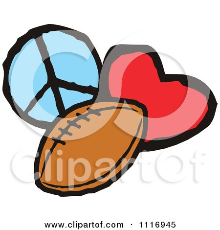 Cartoon Of Peace Love Football Graphics - Royalty Free Vector Clipart by Johnny Sajem
