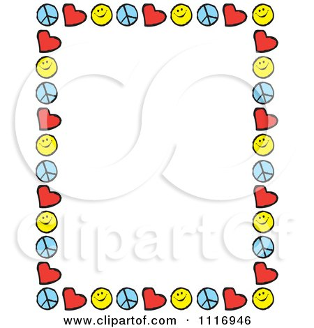 Picture Love on Cartoon Of Peace Love Happiness Border Frame With Copyspace   Royalty