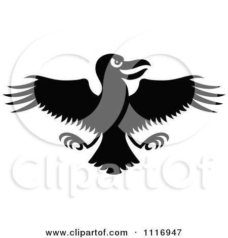 Cartoon Of A Black Evil Flying Crow - Royalty Free Vector Clipart by Zooco