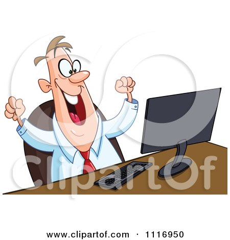 Cartoon Of A Happy Man Working At Or Watching Something On A Computer - Royalty Free Vector Clipart by yayayoyo