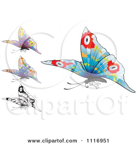 Vector Clipart Colorful And Black And White Flying Butterflies - Royalty Free Graphic Illustration by Paulo Resende