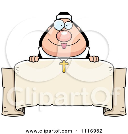 Clipart of a Happy Smiling Chubby Nun - Royalty Free Vector ...