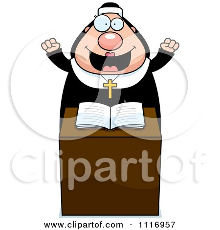 Vector Cartoon Happy Nun At The Pulpit In Her Habit - Royalty Free Clipart Graphic by Cory Thoman