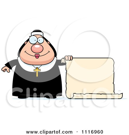 Vector Cartoon Nun In Her Habit By A Scroll Sign - Royalty Free Clipart Graphic by Cory Thoman