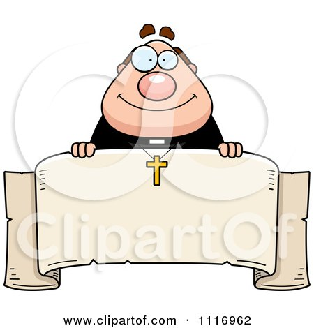 Vector Cartoon Happy Priest Over A Banner - Royalty Free Clipart Graphic by Cory Thoman
