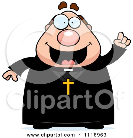 Vector Cartoon Priest With An Idea - Royalty Free Clipart Graphic by Cory Thoman