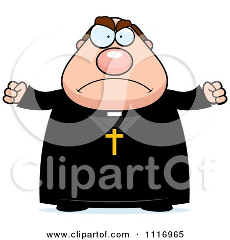 Vector Cartoon Angry Priest - Royalty Free Clipart Graphic by Cory Thoman