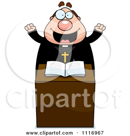 Vector Cartoon Excited Priest At The Pulpit - Royalty Free Clipart Graphic by Cory Thoman
