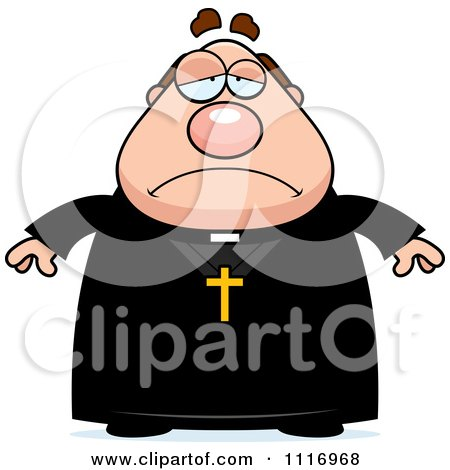 Vector Cartoon Depressed Priest - Royalty Free Clipart Graphic by Cory Thoman