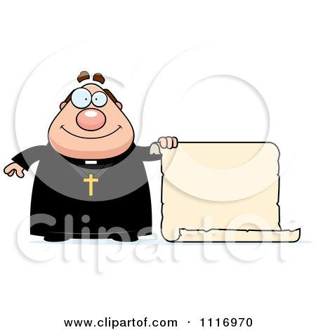 Vector Cartoon Priest Holding A Scroll Sign - Royalty Free Clipart Graphic by Cory Thoman