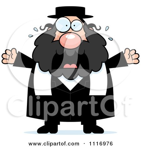 Vector Cartoon Frightened Rabbi - Royalty Free Clipart Graphic by Cory Thoman