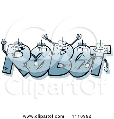 Vector Cartoon The Word Robot With Happy Faces - Royalty Free Clipart Graphic by Cory Thoman