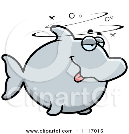 Vector Cartoon Drunk Dolphin - Royalty Free Clipart Graphic by Cory Thoman
