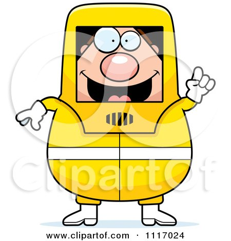 Vector Cartoon Hazmat Hazardous Materials Removal Worker With An Idea - Royalty Free Clipart Graphic by Cory Thoman