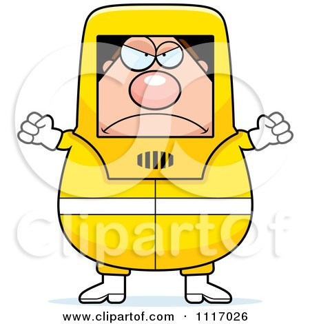 Vector Cartoon Angry Hazmat Hazardous Materials Removal Worker - Royalty Free Clipart Graphic by Cory Thoman