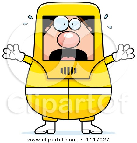Vector Cartoon Panicking Hazmat Hazardous Materials Removal Worker - Royalty Free Clipart Graphic by Cory Thoman