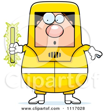 Vector Cartoon Nervous Hazmat Hazardous Materials Removal Worker Holding A Radioactive Rod - Royalty Free Clipart Graphic by Cory Thoman