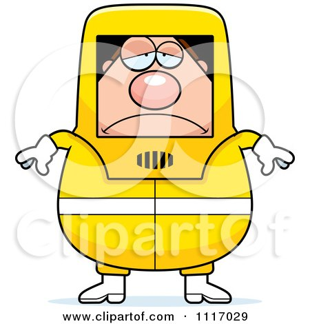 Vector Cartoon Depressed Hazmat Hazardous Materials Removal Worker - Royalty Free Clipart Graphic by Cory Thoman