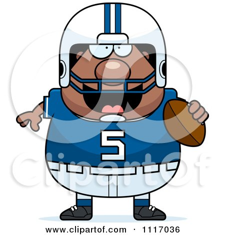 Vector Cartoon Of A Chubby Black Football Player - Royalty Free Clipart Graphic by Cory Thoman