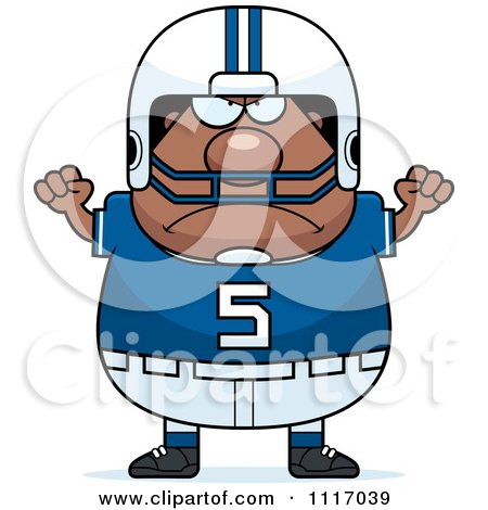 Vector Cartoon Of A Angry Chubby Black Football Player - Royalty Free Clipart Graphic by Cory Thoman