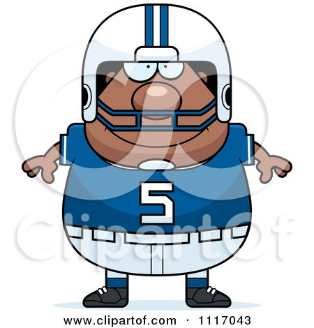 Vector Cartoon Of A Happy Chubby Black Football Player - Royalty Free Clipart Graphic by Cory Thoman