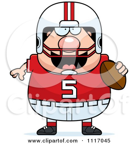 Vector Cartoon Of A Chubby White Football Player - Royalty Free Clipart Graphic by Cory Thoman
