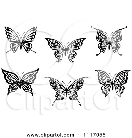 Vector Clipart Black And White Butterflies - Royalty Free Graphic Illustration by Vector Tradition SM