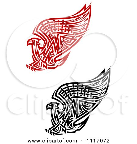 Vector Clipart Red And Black Tribal Griffins Or Eagles - Royalty Free Graphic Illustration by Vector Tradition SM