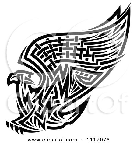 Vector Clipart Black And White Tribal Griffin Or Eagle - Royalty Free Graphic Illustration by Vector Tradition SM
