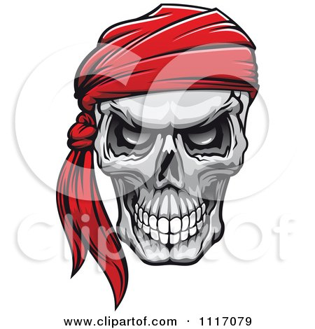 Vector Clipart Evil Skull With A Red Bandana - Royalty Free Graphic Illustration by Vector Tradition SM