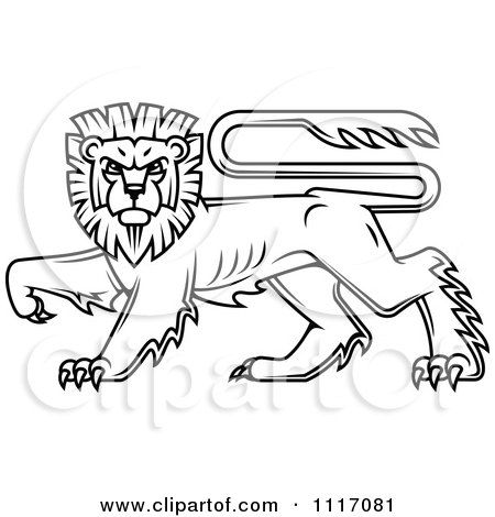 Vector Clipart Black Walking Heraldic Lion - Royalty Free Graphic Illustration by Vector Tradition SM