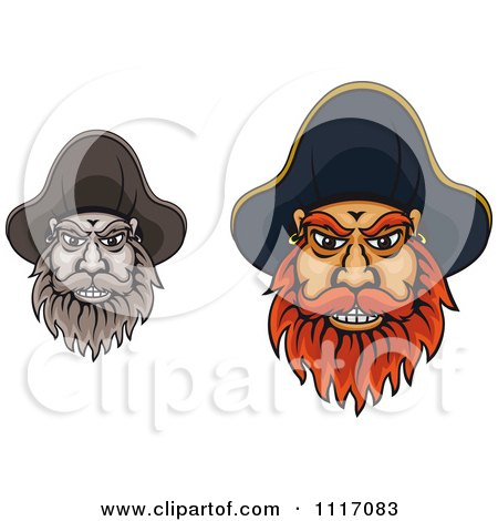 Vector Clipart Bearded Pirate Captain Faces - Royalty Free Graphic Illustration by Vector Tradition SM