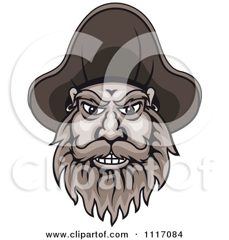 Vector Clipart Bearded Pirate Captain Face - Royalty Free Graphic Illustration by Vector Tradition SM