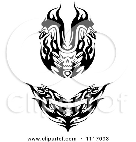 Vector Clipart Black And White Flaming Skull And Flame Motorcycle Biker Handlebars - Royalty Free Graphic Illustration by Vector Tradition SM