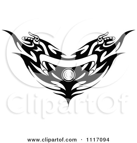 Vector Clipart Black And White Motorcycle Handlebars With Tribal Flames And A Banner - Royalty Free Graphic Illustration by Vector Tradition SM