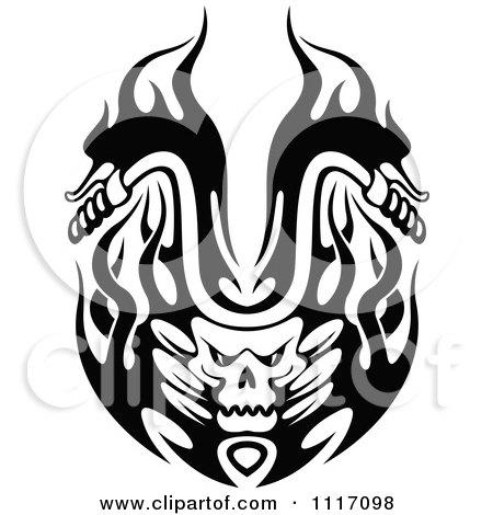 Black And White Flaming Skull Motorcycle Biker Handlebars 2 Posters, Art Prints
