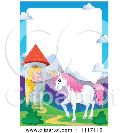 Vector Cartoon Unicorn And Princess In A Tower Frame - Royalty Free Clipart Graphic by visekart
