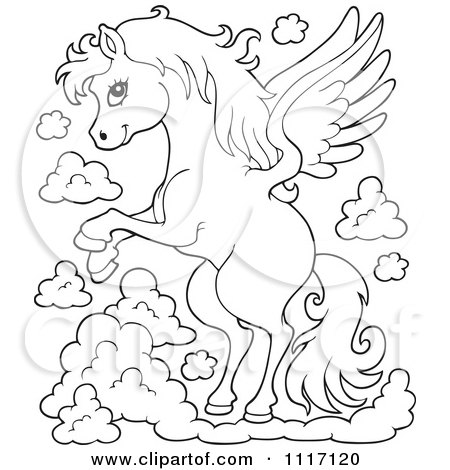 Vector Cartoon Of An Outlined Winged Pegasus Horse Flying - Royalty Free Clipart Graphic by visekart