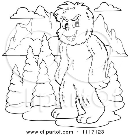 Vector Cartoon Of An Outlined Yeti With Mountains - Royalty Free Clipart Graphic by visekart