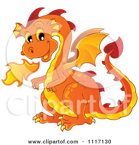 Vector Cartoon Of A Orange Fire Breathing Dragon - Royalty Free Clipart Graphic by visekart