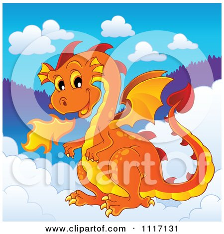 Vector Cartoon Of A Orange Fire Breathing Dragon In The Clouds - Royalty Free Clipart Graphic by visekart