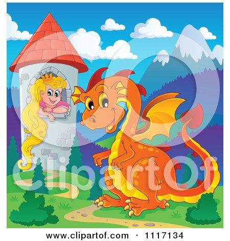 Vector Cartoon Of A Orange Guardian Dragon With A Princess In A Tower - Royalty Free Clipart Graphic by visekart