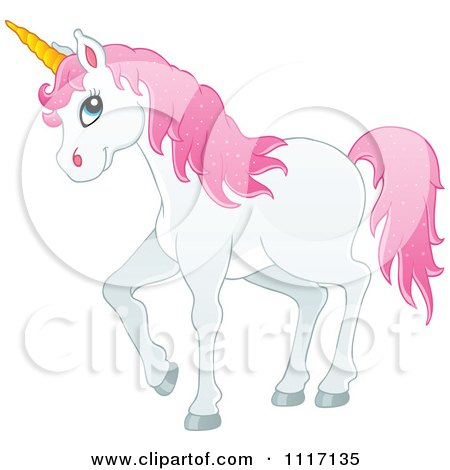 Vector Cartoon Of A White Unicorn With Pink Hair - Royalty Free Clipart Graphic by visekart