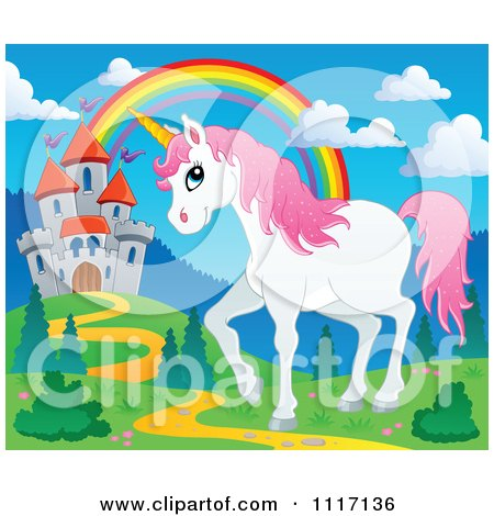 Vector Cartoon Of A Unicorn Near A Fairy Tale Castle And Rainbow - Royalty Free Clipart Graphic by visekart