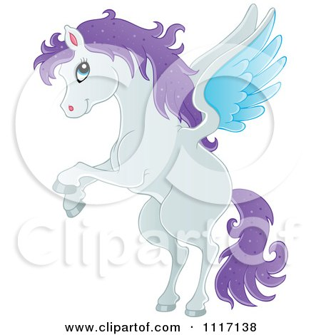 Cartoon Of A Black And White Winged Pegasus Horse Rearing