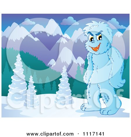 Vector Cartoon Of A Yeti In A Mountainous Landscape - Royalty Free Clipart Graphic by visekart