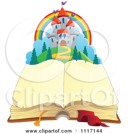 Vector Cartoon Of A Open Aged Book With Blank Pages And A Fairy Tale Castle - Royalty Free Clipart Graphic by visekart