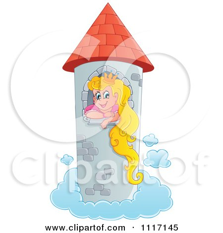 Vector Cartoon Of A Blond Princess In A Floating Tower - Royalty Free Clipart Graphic by visekart